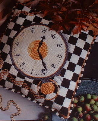 Chessboard & Pocket Watch Cushion ~ Needlepoint Pattern