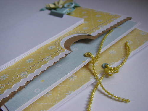 *yellow blue* Handmade Paper Bag Fridge Magnet Notebook