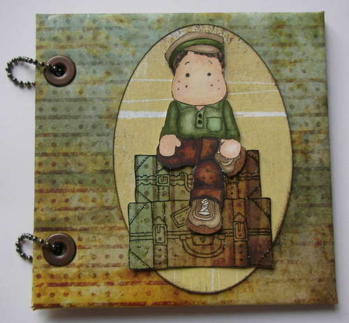 *boy on suitcase* OOAK Handmade Travel Scrapbook Album