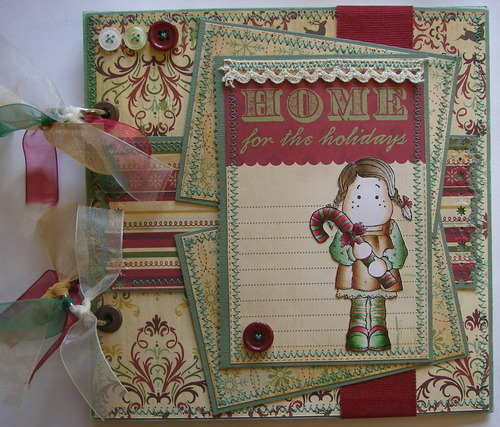 *home for the holidays* full ooak handmade christmas scrapbook photo album