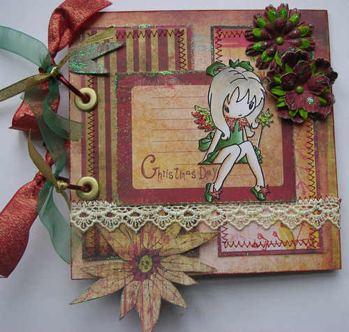 ooak handmade christmas day fairy scrapbook photo album memory book