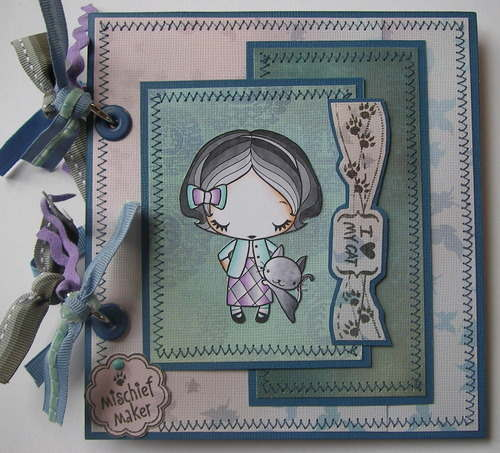 *mischief maker* full cat kitten handmade scrapbook album