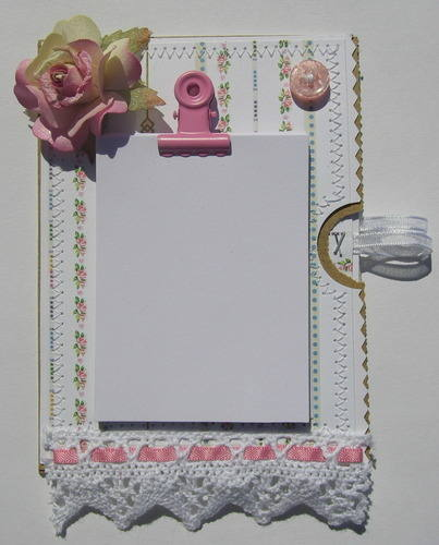 *pink rose* handmade paper bag fridge magnet notebook