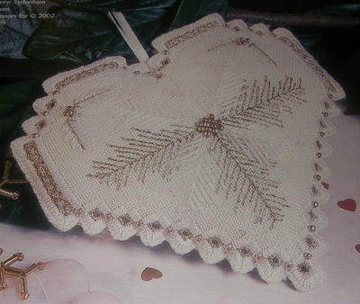 Calico Crossroads Christmas Heart Ornament ~ Counted Thread Embroidery
