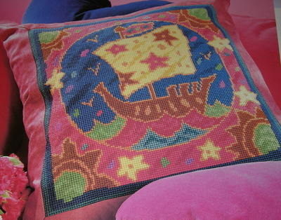 Galleon Ship Cushion ~ Needlepoint Pattern