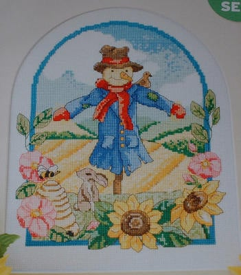 Countryside Scarecrow & Sunflower Scene ~ Cross Stitch Chart