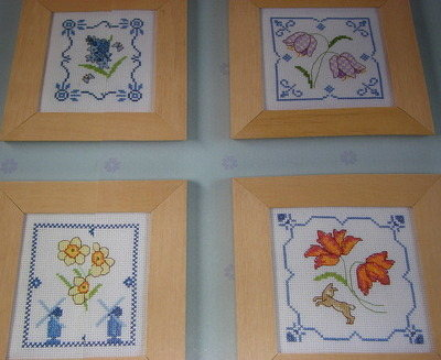 FOUR Delft Style Florals ~ Cross Stitch Charts