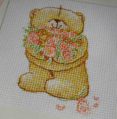 Forever Friends Bear with Flowers ~ Cross Stitch Chart