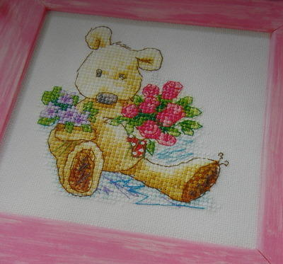 Newton's Law Bear with Flowers ~ Cross Stitch Chart