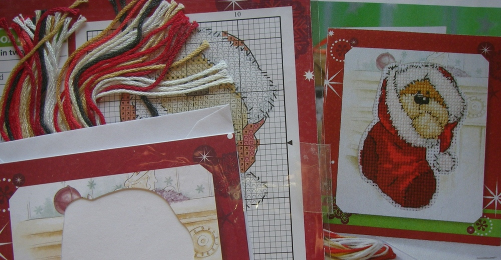 Fizzy Moon - In A Stocking Christmas Card ~ Mini Cross Stitch Kit