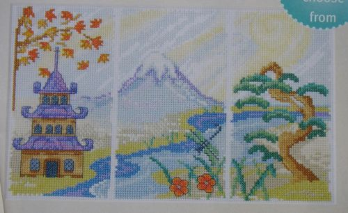 Triptych Japanese Three Part Scene ~ Cross Stitch Chart