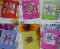 Seven Bright Floral Cards ~ Cross Stitch Charts