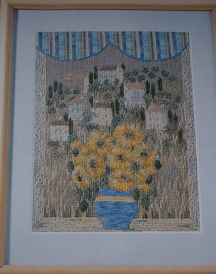 Sunflowers in Window Scene ~ Canvaswork Pattern