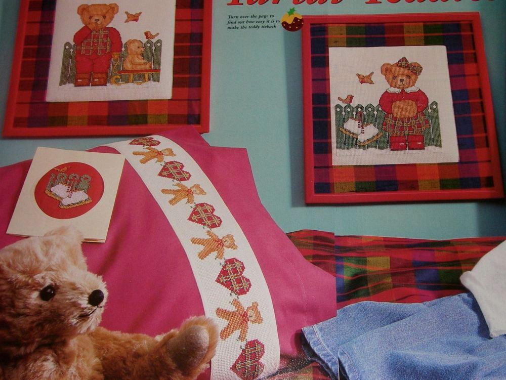Tartan Teddy Bears & Hearts ~ Three Cross Stitch Charts