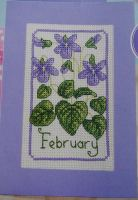 February Violets Birthday/Valentine's Card ~ Cross Stitch Chart