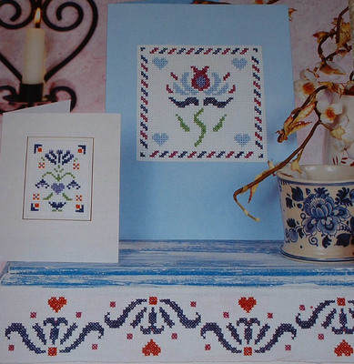 THREE Stencil Floral Design Cross Stitch Charts
