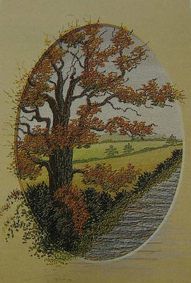 Machine Embroidered Autumn Landscape ~ Pattern