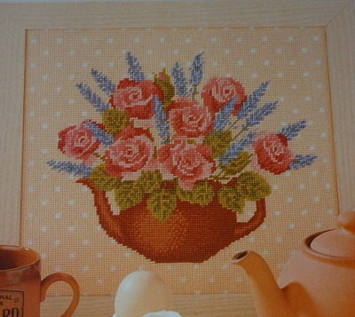 Teapot With Lavender & Roses ~ Needlepoint Chart