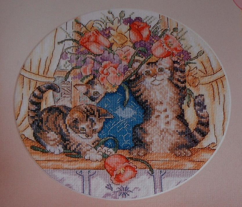 Kittens on a Window Sill ~ Cross Stitch Chart