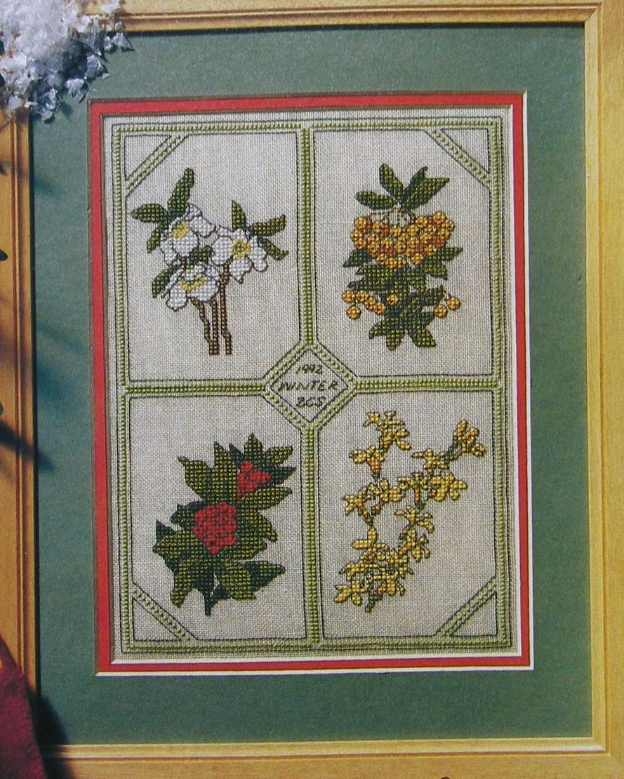 Four Winter Flowers Sampler ~ Cross Stitch Chart