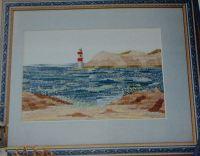 Rocky Beach Scene with Lighthouse ~ Cross Stitch Chart
