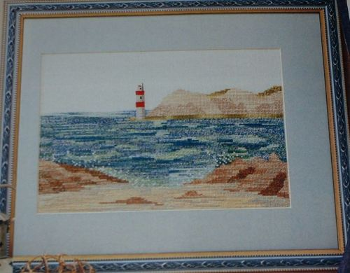 Rocky Beach Scene with Lighthouse ~ Cross Stitch Chart
