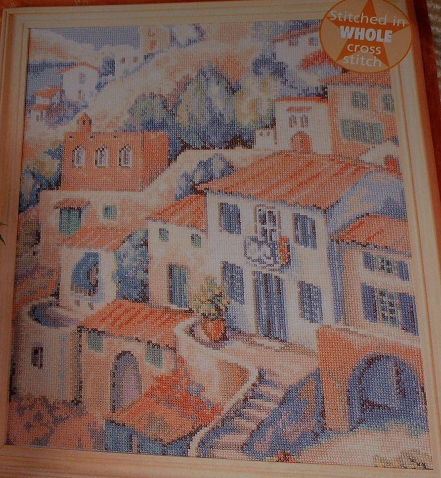 Mediterranean Island Village Scene ~ Cross Stitch Chart
