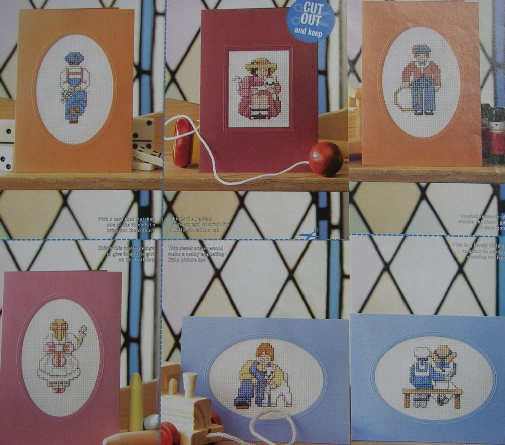 7 Cards For Boys & Girls ~Cross Stitch Charts