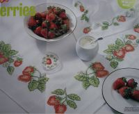 Strawberry Tablecloth, Napkin, Coaster & Picture ~ Cross Stitch Chart