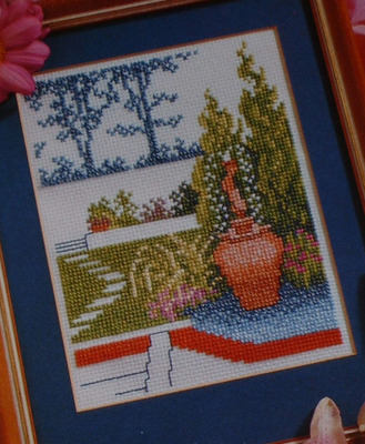 Formal Terrace Flower Garden ~ Cross Stitch Chart