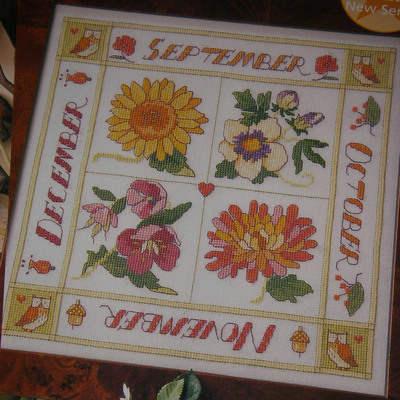 September To December Floral Season Sampler ~ Cross Stitch Chart