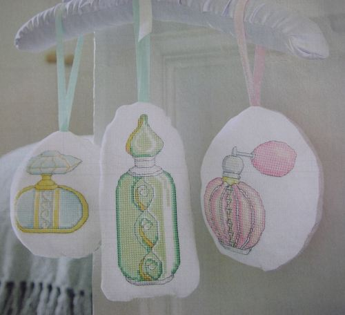 Scented Perfume Bottle Sachets ~ Five Cross Stitch Charts