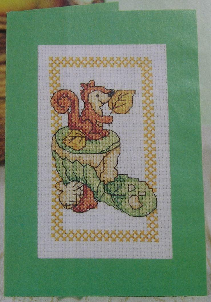 Nutty Cupcake Autumn Birthday Card ~ Cross Stitch Chart