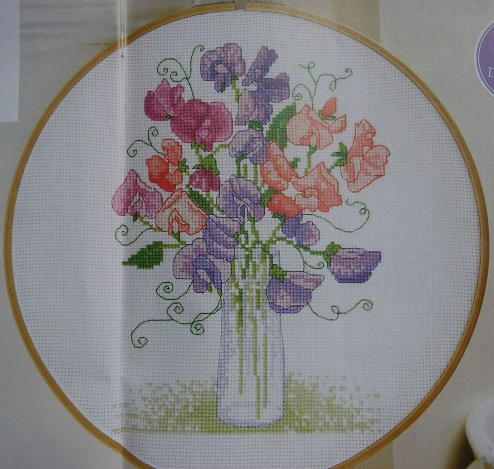 A Vase of Sweet Peas ~ Cross Stitch Chart