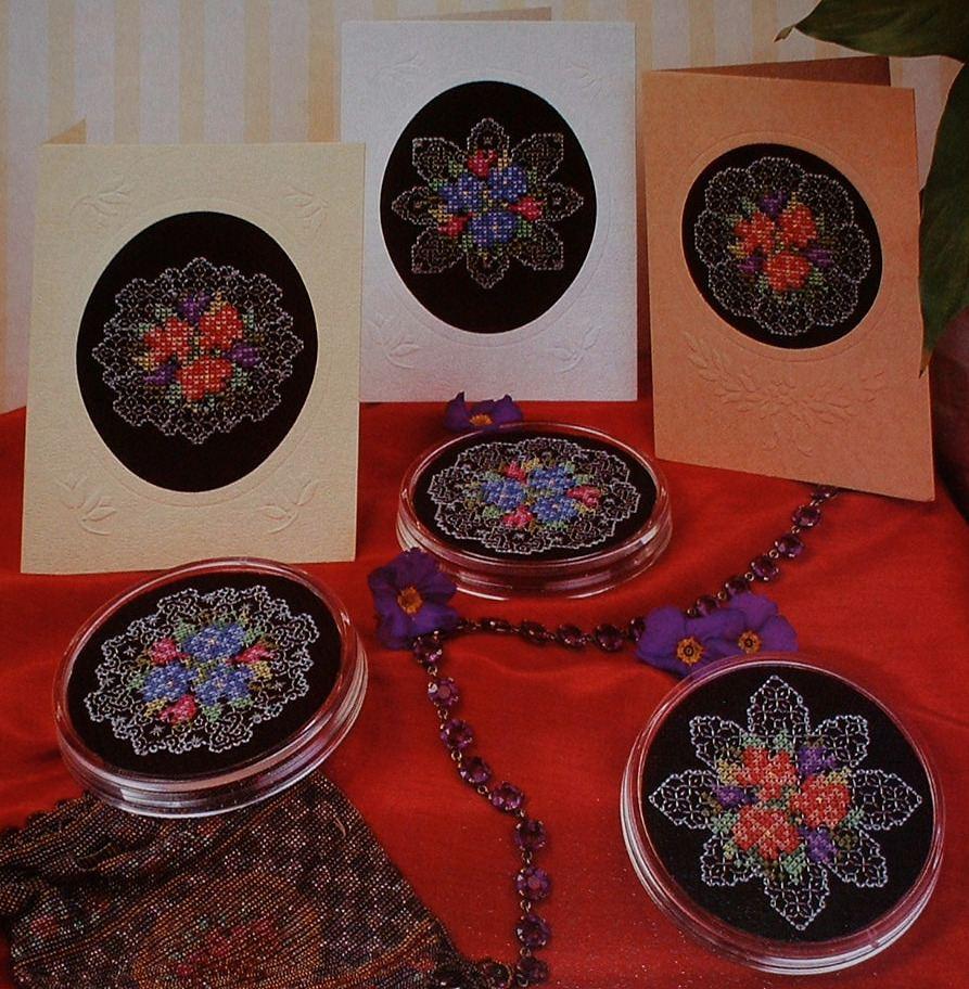 Cross Stitch Flower on a Blackwork Background ~ Embroidery Pattern