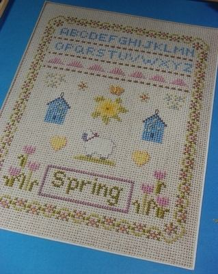 Spring Sampler with Lamb ~ Cross Stitch Chart