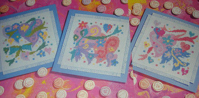 FOUR Valentine Card Cross Stitch Charts