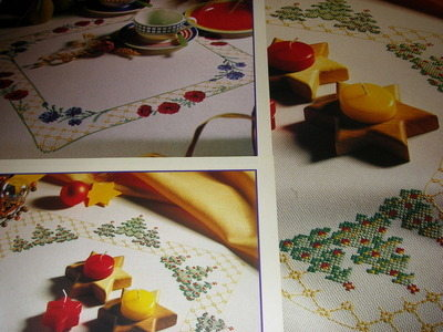 Christmas Tree & Poppy Fields Tablecloths ~ 2 Cross Stitch Charts