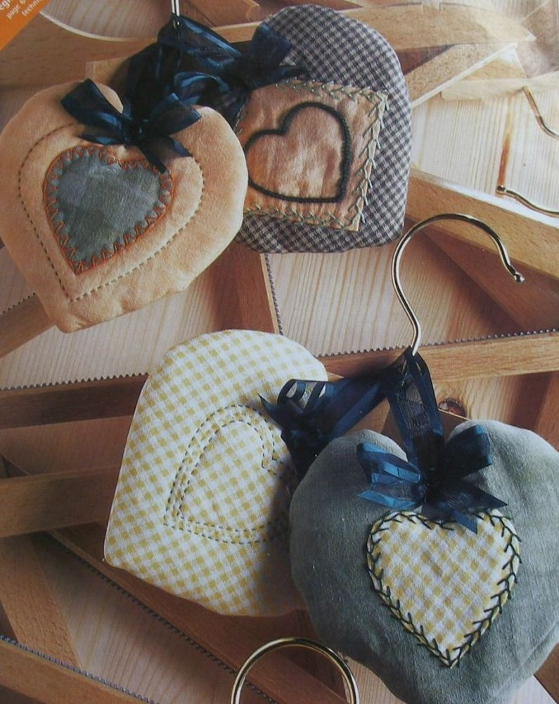 Patchwork & Applique Scented Hearts ~ Sewing Pattern