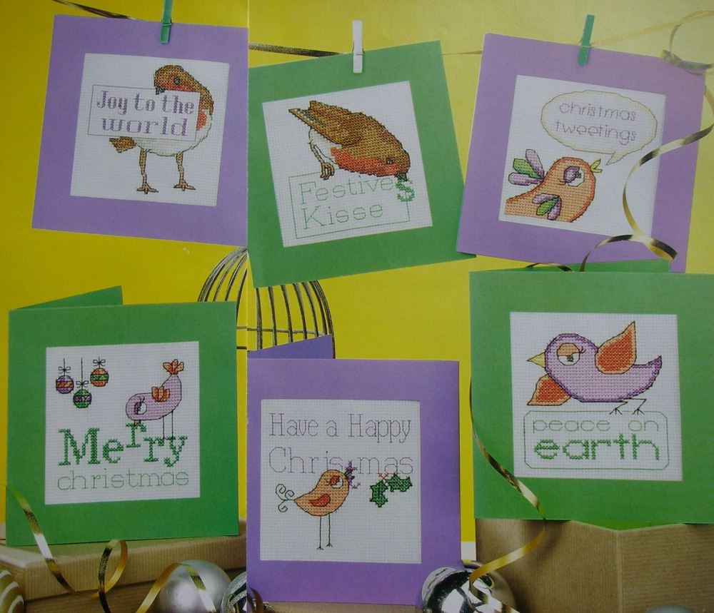 Birdie Christmas Greetings ~ Six Cross Stitch Charts