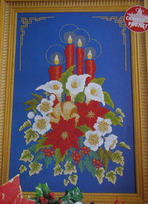 Christmas Candle & Floral Wreath ~ Cross Stitch Chart