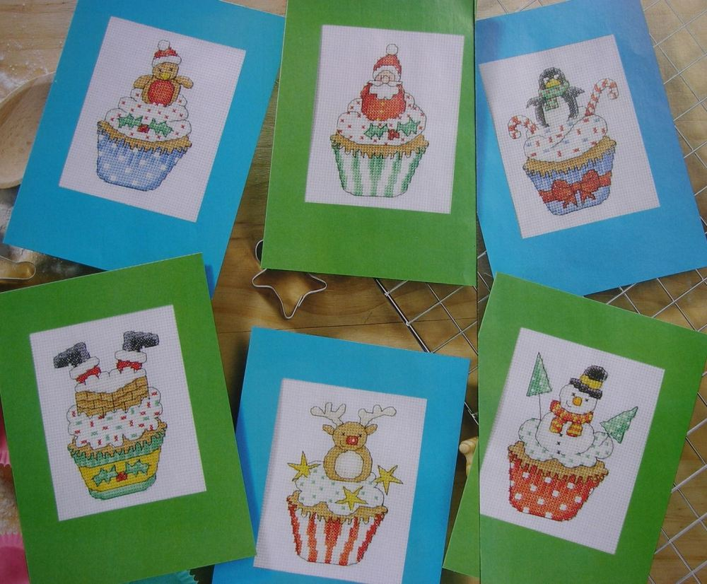Christmas Cupcakes Christmas Cards ~ Six Cross Stitch Charts