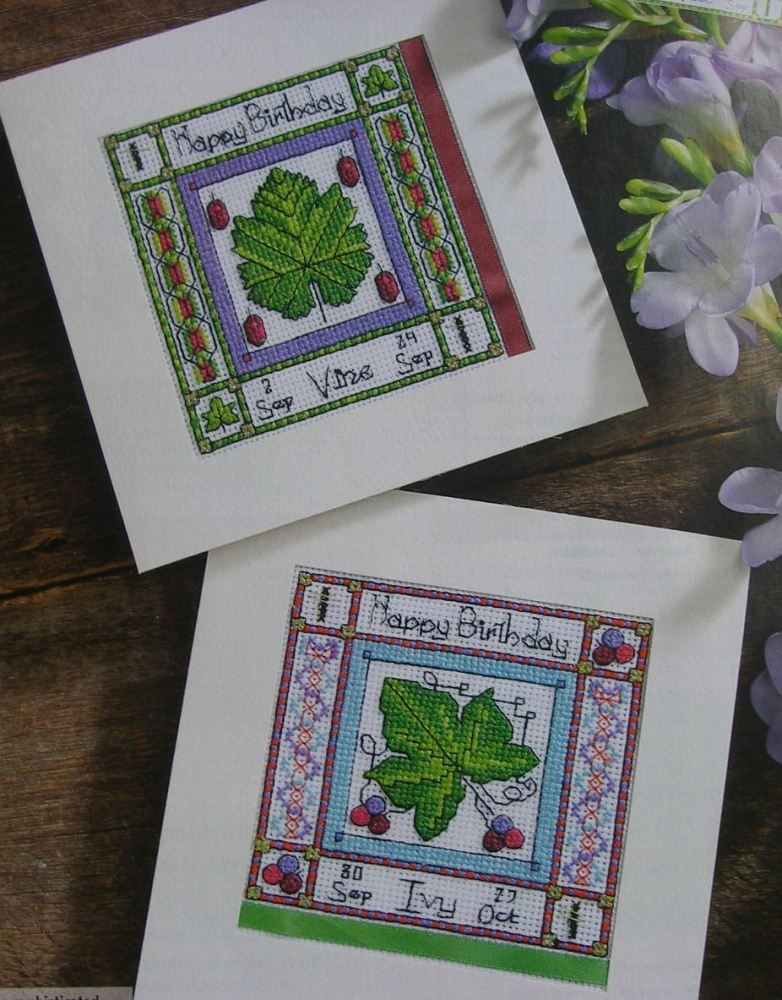 September & October Vine & Ivy Birthday Cards ~ Cross Stitch Charts