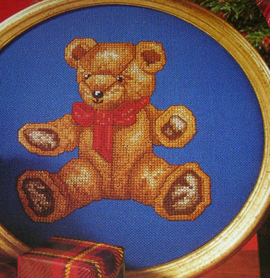 Teddy Bear with Red Bow ~ Cross Stitch Chart