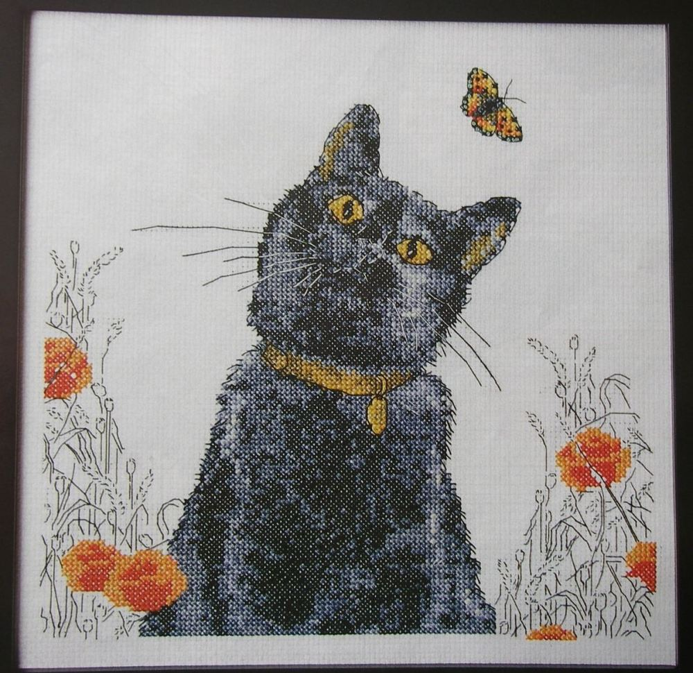 Black Cat Amongst the Poppies ~ Cross Stitch Chart