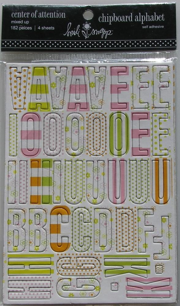 Heidi Swapp: Self Adhesive Chipboard Alphabet ~ Center of Attention Mixed U