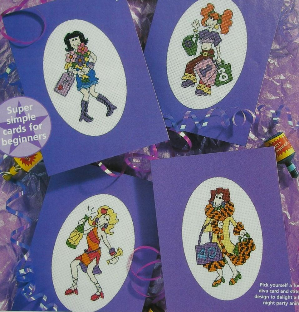 Aged Birthday Cards for the Girls ~ Four Cross Stitch Charts