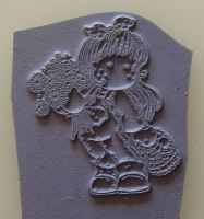 Mini Magnolia Unmounted Rubber Stamp: Tilda with Daisies & Mushrooms