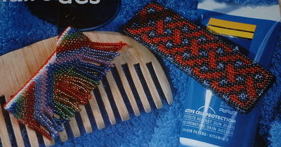 Knotwork & Rainbow Patterned Beadwork Hairslides ~ Beadwork Patterns