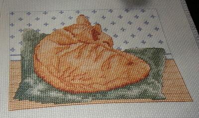 Sleeping Ginger Cat ~ Cross Stitch Chart